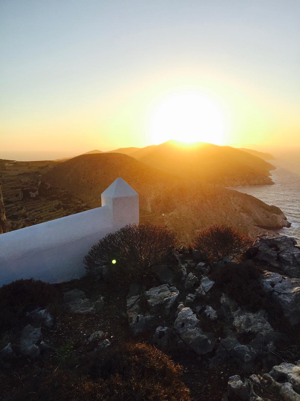 Coucher de soleil depuis l'église de la Panagia, Folégandros