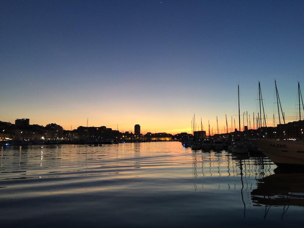 week-end à Marseille Vieux Port coucher de soleil
