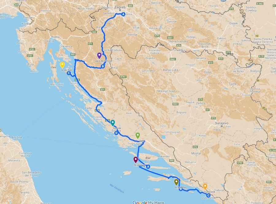 itineraire road-trip en Croatie